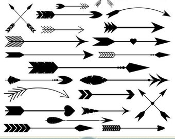 Arrows Photoshop Brushes Vector Arrow PS Brushes Tribal Arrows Aztec Native American Doodle Scrapbooking Wedding Invitations Logo Silhouette