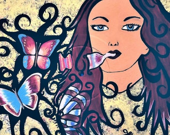Acrylic Paintings, Vinyl Record Painting, Record Art, Butterflies, Butterfly Bubbles, Whimsical Art, Fantasy Art, Painted Female, Artwork