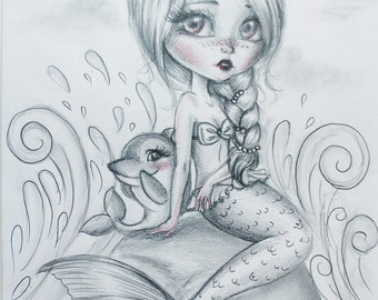 Art Original Drawing Mermaid Pencil Graphite Red Big Eyes Girl