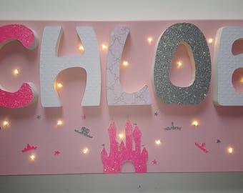 Light canvas - decorated name - Princess Castle theme