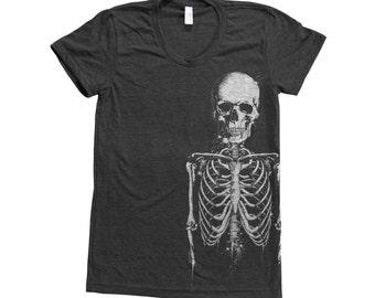 Skeleton T-shirt, Halloween Shirt, Women's T-shirt, Screen Print, Short Sleeve Tshirt, Black T-shirt, Halloween Costume, Party T-shirt