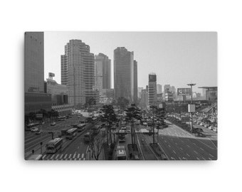Traffic In Seoul Black and White Canvas