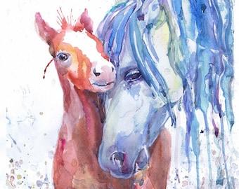 Horse art , equestrian decor, watercolor foal, colt,  equine art, horse painting, horse decor, horse wall art, horse print, horse nursery
