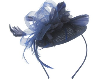 Navy Blue fascinator hat with headband, Ascot Races, Weddings, Prom