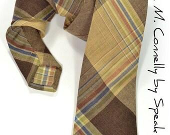 Wedding Mens Necktie Brown Checkered tie