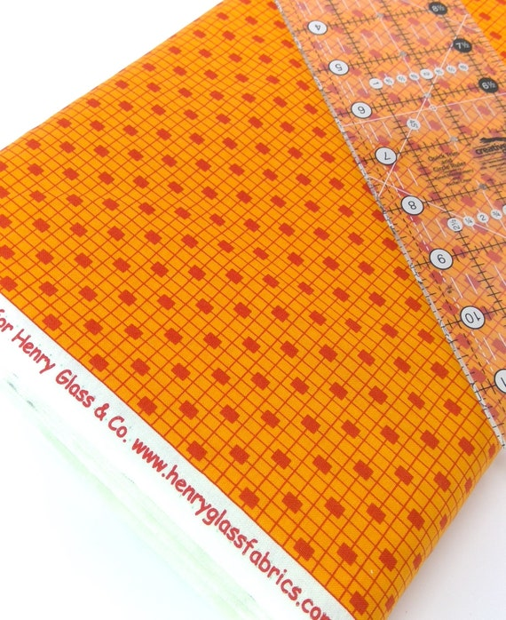 Small Square In A Square Check Dark Orange On Medium Orange Clean Living by Barbara Jones of Quilt Soup, Quilt Fabric By The Yard 6689 30