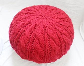 Cable Knit Ottoman, Stuffed Knit Pouf, Nursery Pouf, Stuffed Pouf Ottoman, Made to Order