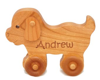 Wood Toy Car, Puppy Personalized Toy,  Push Toy, Personalized Gift, Custom Toy, Baby Shower, Birthday, Christmas Gift