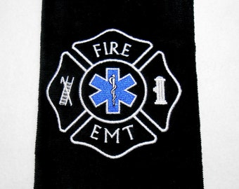 Golf towel, Fire Dept, Fire EMT golf gift, sports towel, firefighter gift, personalized golf, embroidered golf, gift for him, retirement