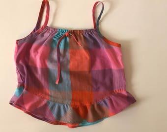 Vintage Plaid Tank Top Toddler Girl Plaid Tank Top Ruffle Hem Orange and Pink Top Girl