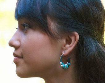 Sterling Silver hoop Turquoise Earrings / Bali handmade jewelry /  silver 925 / 1.50 inch / (530K)