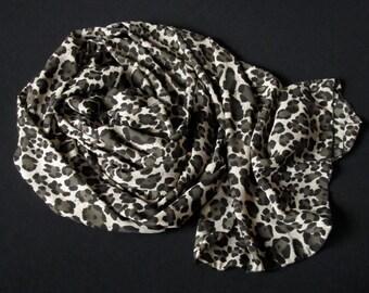 Animal Print Chiffon Scarf/Stole/Shawl - Leopard Spots - black and white