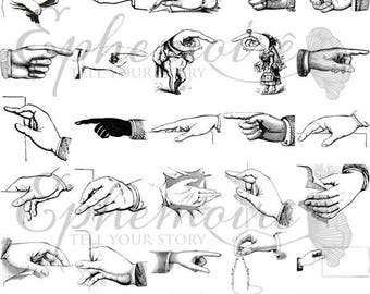 DIGITAL STAMPS - Pointing Finger and Hands - Digistamps Hands Fingers - Hands and Fingers Clip Art Set - 25 PNGs - Line Art Coloring PNGs