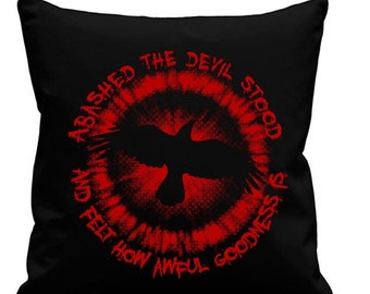 The Crow - Abashed the devil - Black canvas 8oz Cushion Cover 45x45cm square, concealed zip