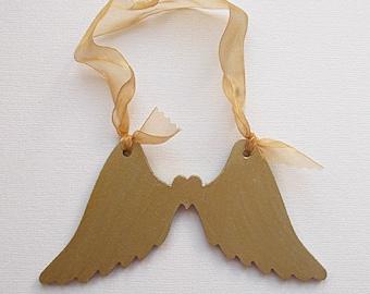 Wooden Angel Wings Gold 150mm Wide