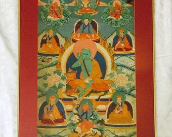 Original asiatische Thangka-Gemälde von Milarepa - tibetischen Yogi