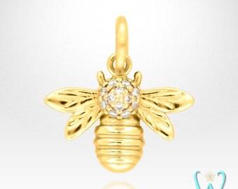 14K Diamond Bee Pendant or Necklace