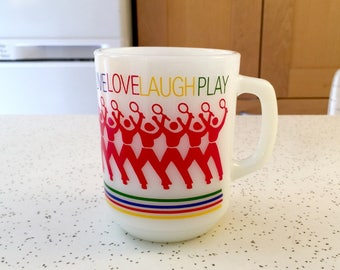 Vintage Fire King Milk Glass Live Love Laugh Play Mug, 1980s Collector, Anchor Hocking Fire King Mug, Rainbow Tennis