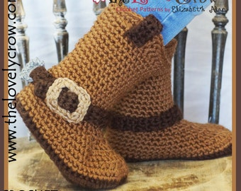 Cowboy Boots Crochet Pattern CHILDREN Sizes