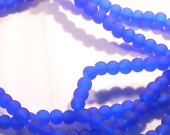Navy 25 blue frosted round beads 4 mm
