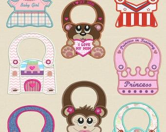 Completely made in the hoop Baby Bibs (5X 7 Hoop) Machine embroidery designs