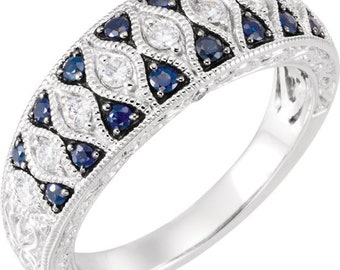 14K White Gold Blue Sapphire & Diamond Granulated Ring