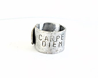 Carpe Diem Mantra Band, Inspirational Ring, Personalized, Custom or Blank Band, Wrap Style Ring, Customized Wrap Ring, Christmas Present