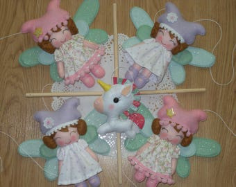 Fairies and unicorn baby mobile