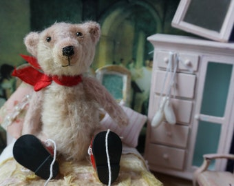 "OOAK Artist Bear -  BINGHAM - 5"" Tall 2-Tone Pink and Cream German Mohair Collectible Teddy Bear Polar Bear"