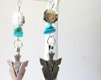 Western Earrings Arrow Head Turquoise Blue Concho