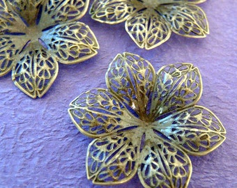 50pcs 44mm Antique Bronze Filigree Flower Wraps A3-1