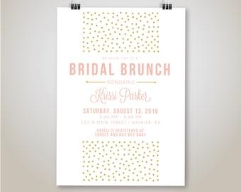Gold Polka Dots Bridal Brunch Invitation, Gold and Blush Bridal Shower Invite