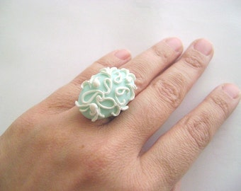 Mint and white adjustable clay Ring. OOAK handmade ring