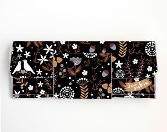 Vinyl lange Brieftasche - Herbst Flora / Vegan, hübsche, große Brieftasche, Kupplung, Kartenetui, Vinyl-Geldbörse, Frau, Vogel, Herbst, Blumen, Flora, niedlich