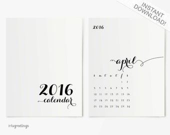 2016 Fancy Calendar PRINTABLE