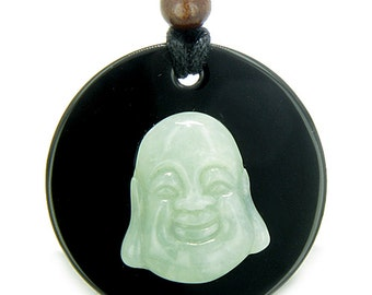 Amulet Happy Laughing Buddha Black Agate Green Serpentine Magic Powers Pendant Necklace