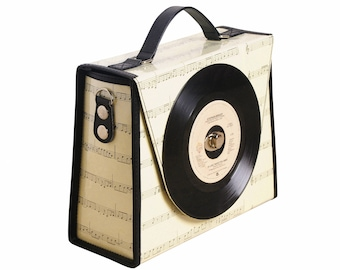 Retro vinyl record handbag / crossbody - music student gift - nostalgic vintage gifts for women - eco friendly bag - upcycled gifts for her