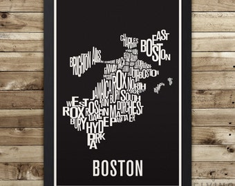 Boston Neighborhood Typography City Map Print
