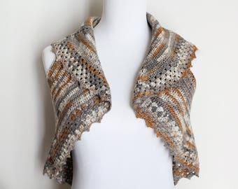 Crochet fil marron argent gilet ou pull