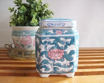 Vintage Asian Ginger Jar, Tea Jar, Chinoiserie Chic, Blue and White with Pink, Hexagonal