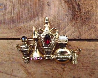 Vintage Genie Bottle Brooch - Mid-century Bottle Brooch - Genie Jewelry Pin