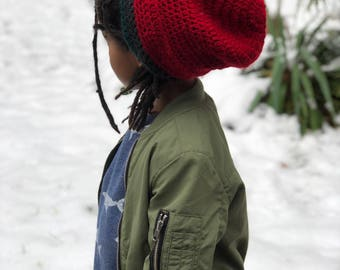 Adult Crochet Rasta Tam Slouchy Hat