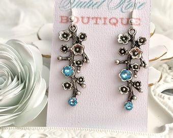 Cherry Blossom Branch Earrings, Flower Earrings, Drop Earrings, Dangle Earrings, Silver Earrings, December Earrings, Christmas Earrings