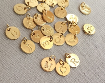 10mm round Letters charm, Plated18k Gold Tiny Letters, Golden Alphabet Intial Disc, Personalized Initials