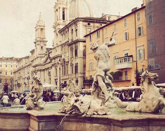Piazza Navona - vintage photography, Rome art, travel photograph, Italy photo, Italian picture