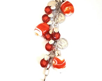 Handbag charm / Keychain with charms and perles.ton Red