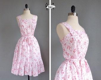 vintage DELICATE floral cotton day dress (w100p01-1)
