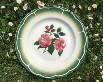 Digoin-Sarreguemines serving platter, pink and green floral pattern, antique ceramic serving plate