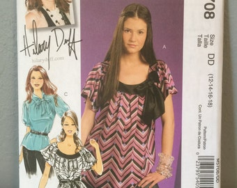 McCalls Sewing Pattern M5708 Hilary Duff Tops Blouses Size DD 12 14 16 18