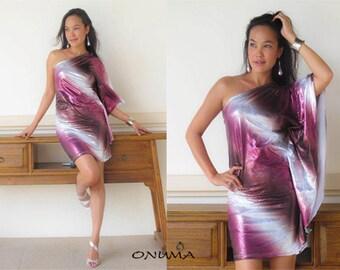 Pink dress, party dress, sparkle dress,short dress,mini dress, Butterfly sleeve dress, one shoulder Short dress